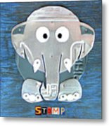 Stomp The Elephant Recycled License Plate Animal Art Metal Print