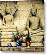 Stone And Flowers - Buddhist Shrine Metal Print