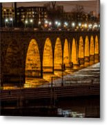 Stone Arch Bridge Night Shot Metal Print