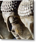 Stone Carved Buddha Faces Metal Print