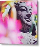 Stone Carved Statue Of Buddha Surrounded With Colorful Flowers Bali, Indonesia Metal Print