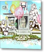 Stone Figures And Balloons Metal Print