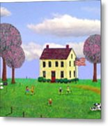 Stone House In Spring Metal Print