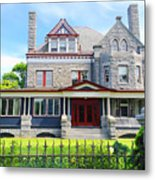 Stone Mansion Red Doors Metal Print