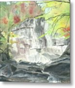 Stone Mountain Falls - The Upper Cascade - IIi - Autumn Metal Print