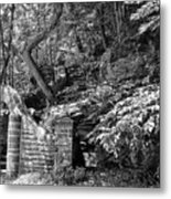 Stone Stairway Along The Wissahickon Creek In Black And White Metal Print