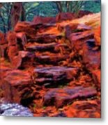 Stone Steps In Autumn Metal Print
