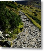 Stone Walkway Towards The Pointed Peak Metal Print