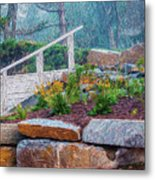 Stone Wall And Stairs Metal Print