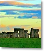Stonehenge Sunset In Spring Metal Print