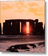 Stonehenge Winter Solstice Metal Print by English School