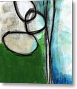 Stones- Green And Blue Abstract Metal Print