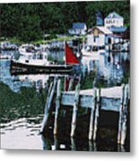 Stonington Harbor With Pier Maine Coast Metal Print