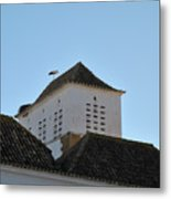 Stork And Nest On Roof In Faro. Portugal Metal Print