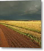 Storm Clouds Along A Saskatchewan Country Road Metal Print