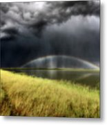 Storm Clouds And Rainbow Over Chaplin Lake Marshes Metal Print