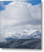 Storm Clouds And Snow On Pikes Peak Metal Print
