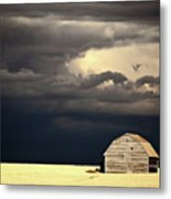 Storm Clouds Behind Abandoned Saskatchewan Barn Metal Print