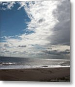 Storm Clouds Clearing The Beach With Wind Farm In The Background Skegness Lincolnshire England Metal Print