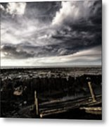 Storm Clouds Over Beached Shipwreck Metal Print