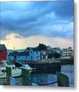 Storm Clouds Over Rockport Harbor Metal Print