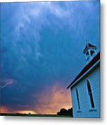 Storm Clouds Over Saskatchewan Country Church Metal Print
