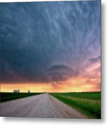 Storm Clouds Over Saskatchewan Country Road Metal Print