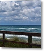 Storm Clouds Over The Beach Metal Print