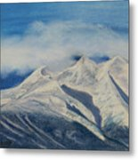 Storm Clouds Over Winter Mountain Blues Metal Print