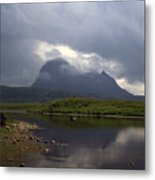 Storm Clouds Passing Across Suilven  And Fion Loch Near Ullapool Ross And Cromarty Scotland Metal Print