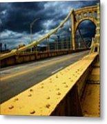 Storm Over Bridge Metal Print