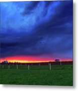 Storm Over Farm Country Metal Print