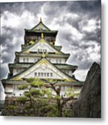 Storm Over Osaka Castle Metal Print