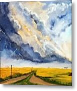 Storm Over The Country Road Metal Print