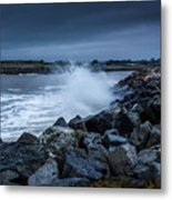 Storm Over The Jetty 1 Metal Print