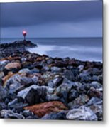 Storm Over The Jetty 2 Metal Print