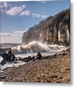 Storm Tide Cliffs End Metal Print
