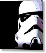 Storm Trooper In Black And White Metal Print