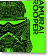 Stormtrooper Helmet - Green - Star Wars Art Metal Print