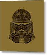 Stormtrooper Helmet - Star Wars Art - Brown  Metal Print