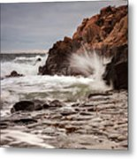 Stormy Beach Waves Metal Print