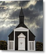 Stormy Day At The Black Church Metal Print