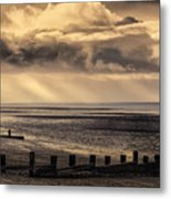 Stormy English Coastal Seascape Metal Print
