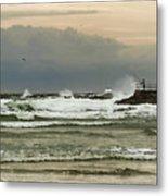 Stormy Fishing Metal Print