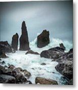 Stormy Iclandic Seas Metal Print
