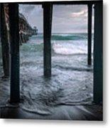 Stormy Pier Metal Print by Gary Zuercher