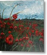 Stormy Poppies Metal Print