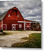 Stormy Red Barn Metal Print