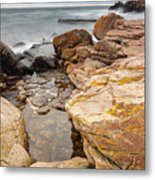 Stormy Rock Beach Metal Print
