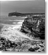 stormy sea - Slow waves in a rocky coast black and white photo by pedro cardona Metal Print